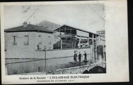 75, PARIS, ATELIERS DE LA SOCIETE L'ECLAIRAGE ELECTRIQUE, INONDATION DU 28 JANVIER 1910 - Inondations De 1910