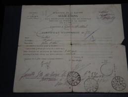 Certificat D ´admissions Aux Allocations Aux Militaires Soutiens De Famille Pendant  La Guerre En 1918- A Voir - L 656 - Documents