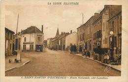 42 - LOIRE - Saint Martin D'Estreaux - La Loire Illustrée - Route Nationale - Pompe à Essence - France