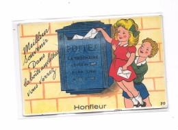 14 - HONFLEUR : Carte à Système, Petite Fille, Boite Aux Lettres, Poste, - Honfleur