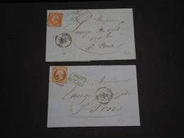 FRANCE - 2 Lettres De Béziers En 1857 Pour St Pons , Affranchissement N° 16 - A Voir - L 672 - Marcofilia (sobres)
