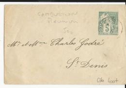 LA REUNION - 1901 - ENVELOPPE ENTIER TYPE ALPHEE LOCALE De CAMBUSTON (RARE) Pour ST DENIS - Réunion (1852-1975)