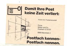 Carte Franchise Service Des Postes Mannheim Code Postal - BRD