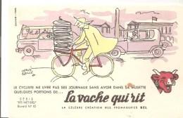 Buvard La Vache Qui Rit Série Les Métiers N°10 Le Cycliste Ne Livre Pas Ses Journeaux Illustré Par Hervé Baille - Dairy