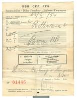 SVIZZERA - FFS - BIGLIETTO TRENO  BELLINZONA - BERNA, 1954, - Treni