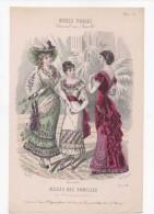 Gravure De Mode Musée Des Familles Modes Vraies Travail En Famille Rigolet Femmes éventail Février 1881 - Prints & Engravings
