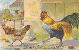 Bc - Belle  Cpa Illustrée Poules - Joyeuses Pâques - 1900-1949