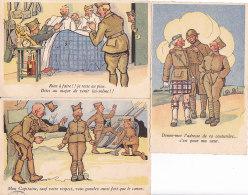 Bc - Lot De 3 Cpa Illustrées Militaires - Umoristiche
