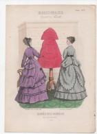 Gravure De Mode Musée Des Familles Modes Vraies Travail En Famille Gourdon Leloup Femmes Mannequin Novembre 1868 - Prints & Engravings