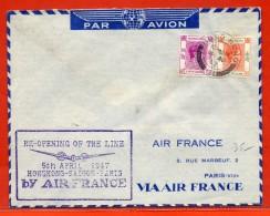 HONG KONG LETTRE PAR AVION DE 1947 POUR PARIS FRANCE - Hong Kong (...-1997)