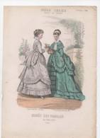 Gravure De Mode Musée Des Familles Modes Vraies Travail En Famille Gourdon Grognet Femmes Fleurs Octobre 1868 - Prints & Engravings