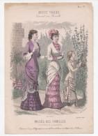 Gravure De Mode Musée Des Familles Modes Vraies Travail En Famille Rigolet Femmes Fille Fruits Septembre 1880 - Prints & Engravings