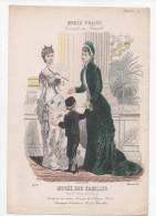 Gravure De Mode Musée Des Familles Modes Vraies Travail En Famille Rigolet Femmes Garçon éventail Décembre 1878 - Prints & Engravings