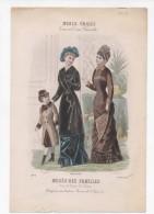 Gravure De Mode Musée Des Familles Modes Vraies Travail En Famille Rigolet Femmes Fillette Octobre 1878 - Prints & Engravings