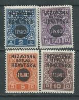 Croatie N° 28 / 31 X Timbres De Yougoslavie Surchargés Les 4 Valeurs Trace De Charnière Sinon TB - Kroatien