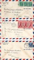 4  Enveloppes - Expédiées  De  NEW YORK  ET  OXFORD  ( Etats - Unis  )  à  Destination D' AUCH  ( 32 )    P. Avion - Amérique Centrale