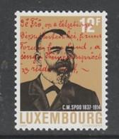 TIMBRE NEUF DU LUXEMBOURG - 75E ANNIVERSAIRE DE LA MORT DU DEPUTE C. M. SPOO N° Y&T 1164 - Sin Clasificación
