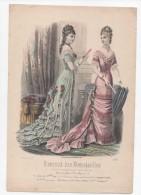 Gravure De Mode Journal Des Demoiselles Dupuy Femmes éventail Février 1878 - Prints & Engravings