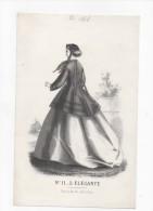 Gravure De Mode Rigolet N°11 L´élégante 1866 Prix Au Dos - Estampas & Grabados