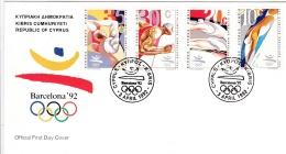 Cyprus FDC 1992 1992 Summer Olympics, Barcelona  (G85-43) - Briefe U. Dokumente