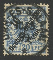 German East Afrika, 10 P. On 20 Pf. 1896, Sc # 9, Mi # 9, Used, Dar-es-Salaam - Colony: German East Africa