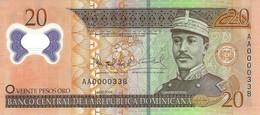 DOMINICAN REPUBLIC 20 PESOS ORO 2009 P-182 UNC LOW SERIAL AA0000338 [ DO182 ] - Dominicana