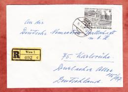 Einschreiben Reco, EF Dampfkraftwerk, Wien Nach Karlsruhe 1962 (45796) - 1945-.... 2. Republik