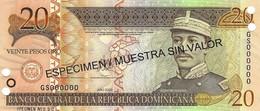 DOMINICAN REPUBLIC 20 PESOS ORO 2003 P-169s UNC SPECIMEN [ DO169s ] - Dominicana