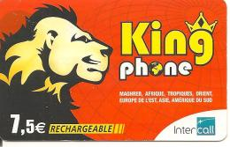 CARTE-PREPAYEE-RECHARGEABLE-INTERCALL-7. 5 €--KINGPHONE-LION-31/03/2012--TBE - Prepaid Cards: Other