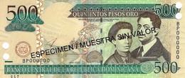 DOMINICAN REPUBLIC 500 PESOS ORO 2003 P-172s UNC SPECIMEN [ DO172s ] - Dominicana