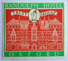 HOTEL RANDOLPH Oxford England Original Luggage Label Etiquette - Adesivi Di Alberghi
