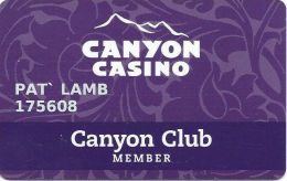 Canyon Casino Black Hawk CO Slot Card - Last Line Of Text Starts With 'Center' - Casino Cards