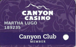 Canyon Casino Black Hawk CO Slot Card - Last Line Of Text Is ´Good Luck´ - Large Phone# Oval - Casino Cards