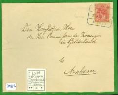 BRIEFOMSLAG Uit 1918 TREINSTEMPEL ZWOLLE - ARNHEM Aan COMM DER KONINGIN In GELDERLAND * 60p1 12e Straal Ontbreekt 10.471 - Periode 1891-1948 (Wilhelmina)