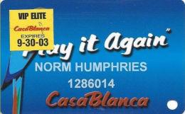 CasaBlanca Casino Mesquite NV - 7th Issue Slot Card - VIP Elite 9-30-03 Sticker - Casino Cards