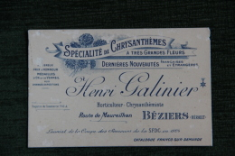 BEZIERS - Henri GALINIER , Spécialité De Chrisanthèmes.Horticulteur,Chrysanthémiste - Visiting Cards