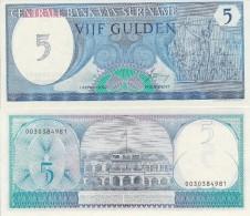 Suriname P-125b, 5 Gulden,Monument Of Revolution / People's Palace 1982 UNC - Surinam