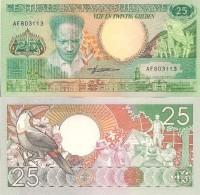 Suriname P-132a, 25 Gulden, Anton De Kom, Monument / Ginger, Flowers, Crowd UNC - Surinam