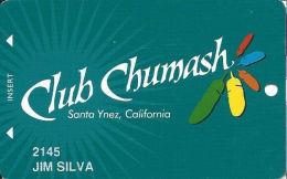 Chumash Casino Santa Ynez, CA Slot Card - 6 Lines Text On Reverse - Casino Cards