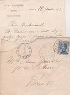Italie Lettre Entête Ecole Française De Rome Palais Farnese Cachet ROMA A Partenza 1 De 1913 Pour Paris France - Storia Postale