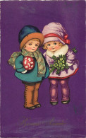 - Themes Divers -ref-M760- Illustrateurs - Illustrateur - Couple D 'enfants - Champignon - Champignons - Trefle -- - Illustrateurs & Photographes