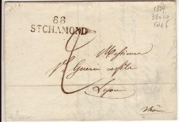 LOIRE - 88 St Chamond- Devant Lettre - PD 38x11-Tm2- 1827 - Marcofilia (sobres)
