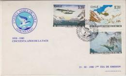 Chile 1980 50Y Fuerza Aerea De Chile 3v FDC (30869) - Chili
