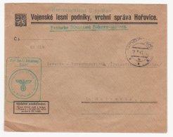 Protectorate Bohemia & Moravia 1943 Cover Heeresdienstamt Brdy-Wald Deutsche Dienstpost Böhmen-Mähren - Lettres & Documents