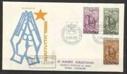 1966 Vaticano Vatican Serie NATALE  CHRISTMAS Su FDC Venetia Viaggiata Racc.ta - Natale