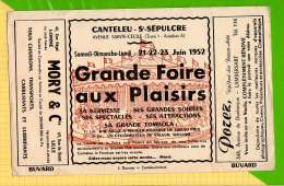 BUVARD & Blotting Paper : Grande Foire Aux Plaisirs  Canteleu St Sepulcre Juin 1952 - Cinéma & Théatre