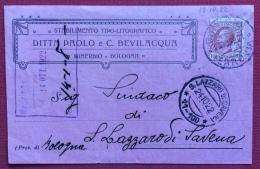 STABILIMENTO TIPO LITOGRAFICO BEVILACQUA MINERBIO  BOLOGNA 1922  CARTOLINA PUBBLICITARIA TESTATA LIBERTY - Werbepostkarten