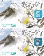 Japan, 291-011C And C-1, Painting Of Mt Fuji (Hologram), 2 Cards Different Backs, 2 Scans. - Japan