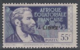 "French Equatorial Africa (AEF), Savorgnan De Brazza, 55c.,  Overprint ""LIBRE"" In Black, 1940, MH VF - A.E.F. (1936-1958)"
