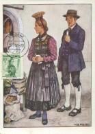 10765 Austria,  Maximum  Trachten  Folclore,  Costume  1950 Bludenz  20g - Maximumkarten (MC)